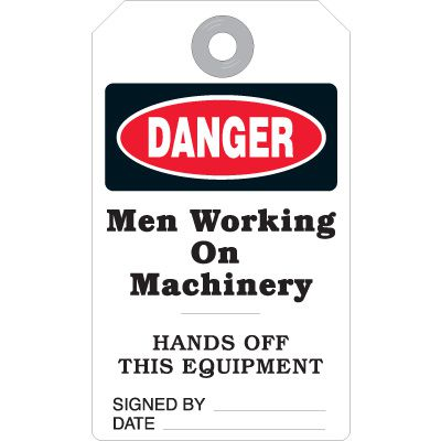 Men Working On Machinery - Accident Prevention Heavy Duty Plastic Tag