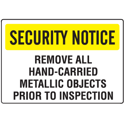 Metal Detector Inspection Signs- Hand-Carried Objects