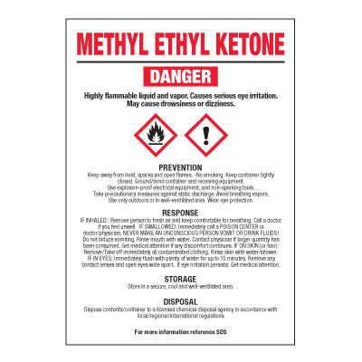 Methyl Ethyl Ketone - GHS Chemical Labels