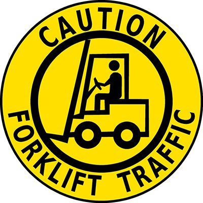 Mighty Line Caution Forklift Traffic Floor Marking Sign
