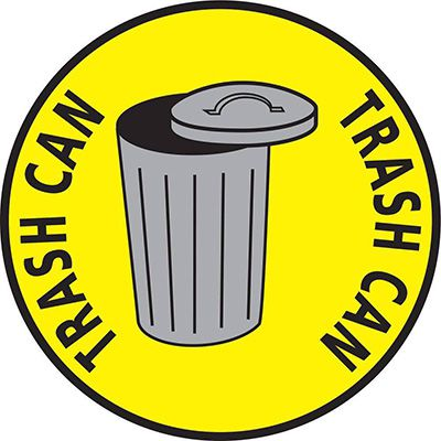 Mighty Line Trash Can Floor Marking Sign