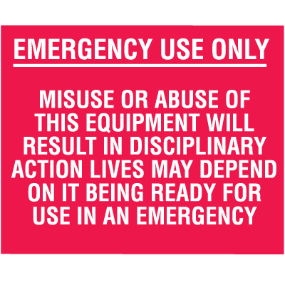 Mini Fire Extinguisher Decals - Emergency Use Only