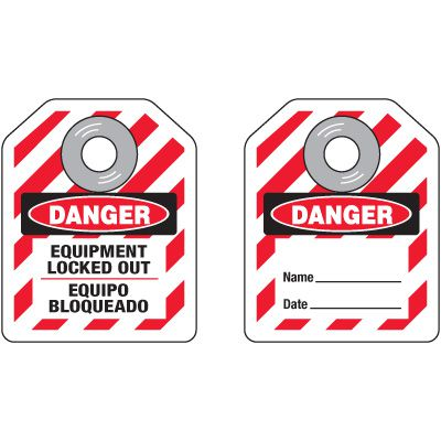 Mini Safety Lockout Tags - Bilingual Danger Equipment Locked