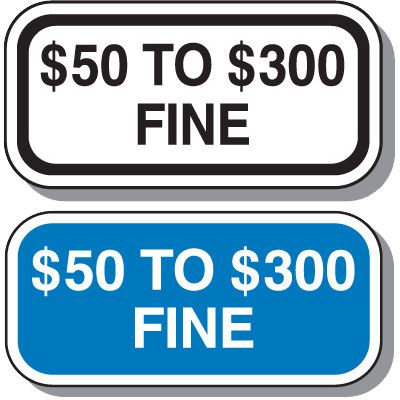 Missouri State Handicap Signs - $50 To $300 Fine