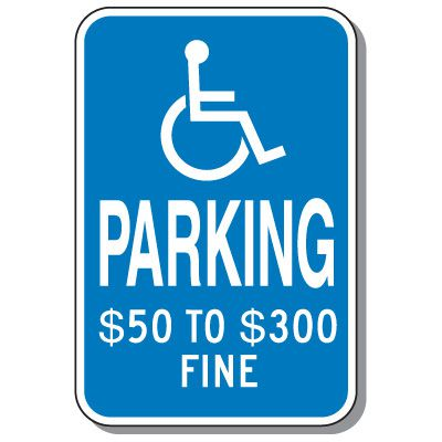 Missouri State Handicap Signs - Parking $50 To $300 Fine