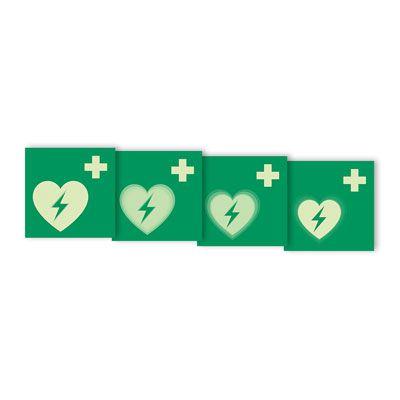 Seton Motion® Photoluminescent First Aid Sign Automated External Heart Defibrillator