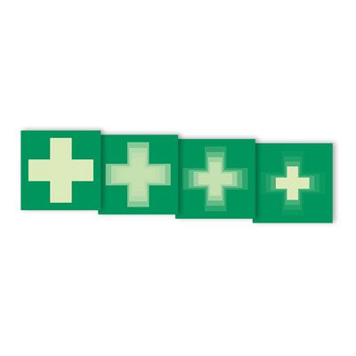 Seton Motion® Photoluminescent First Aid Sign First Aid Symbol