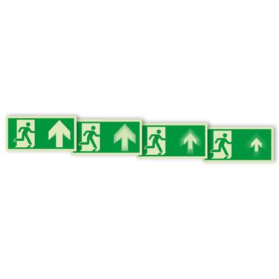 Seton Motion® Photoluminescent Running Man Escape Route Sign Exit Up