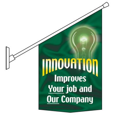 Motivational Pole Banners - Innovation Improves Your Job