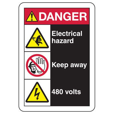 ANSI Signs - Danger Electrical Hazard, Keep Away, 480 Volts