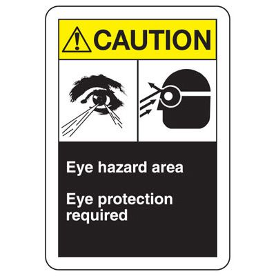 ANSI Signs - Caution Eye Hazard Area, Eye Protection Required