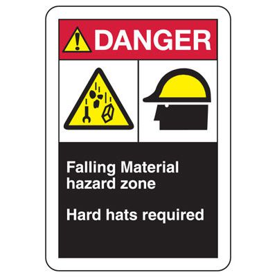 ANSI Signs - Falling Material Hazard Zone, Hard Hats Required