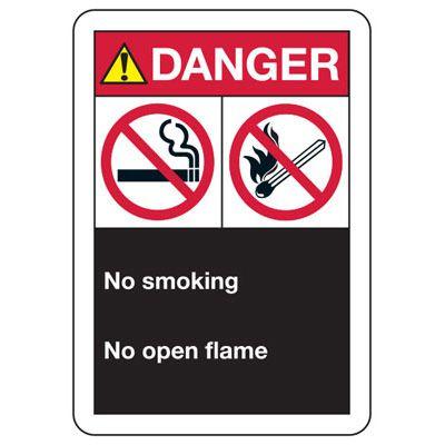 ANSI Multi-Message Signs - Danger No Smoking, No Open Flame