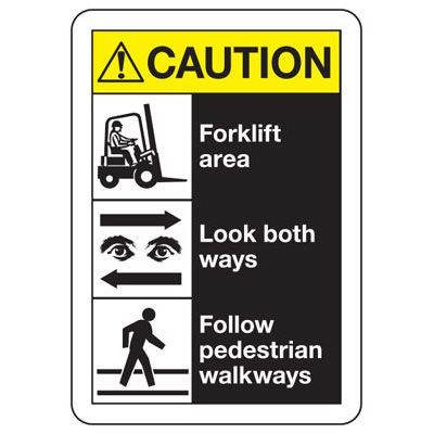 ANSI Multi-Message Safety Signs - Caution Forklift Area Look Both Ways