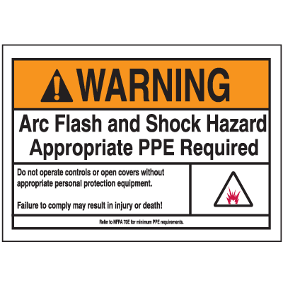 NEC Arc Flash Labels On-A-Roll - Arc Flash And Shock Hazard Appropriate PPE Required