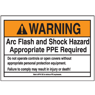 NEC Arc Flash Labels On-A-Roll - WARNING Arc Flash And Shock Hazard Appropriate PPE Required