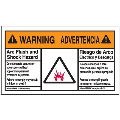 NEC Arc Flash Labels On-A-Roll - Arc Flash And Shock Hazard (Warning/Advertencia)