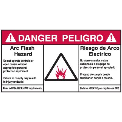NEC Arc Flash Protection Labels - Bilingual - Arc Flash Hazard / Riesgo De Arco Electrico
