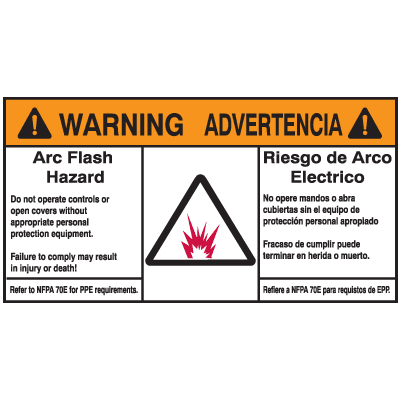 NEC Arc Flash Protection Labels - Bilingual - Arc Flash Hazard / Advertencia Riesgo De Arco Electrico
