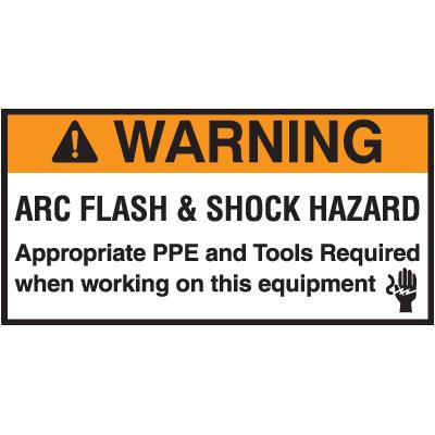 NEC Arc Flash Protection Labels - Warning Arc Flash & Shock Hazard