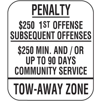 New Jersey State Handicap Signs - Penalty $250 1st Offense