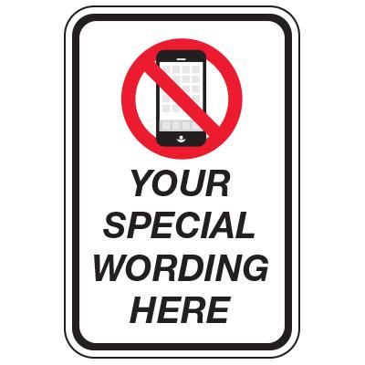 No Cellphone Symbol - Custom School Traffic & Parking Signs