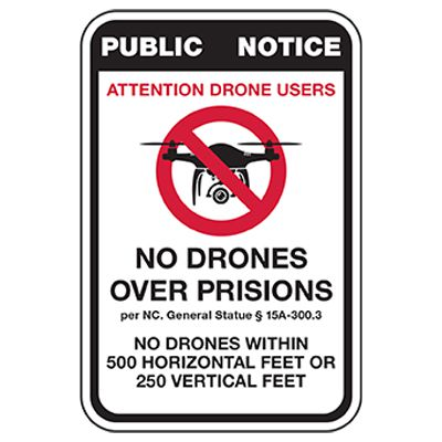 No Drones Over Prison Sign