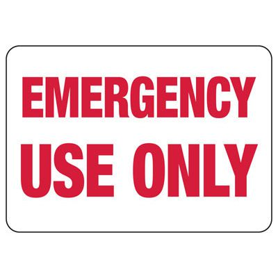 Emergency Use Only Self-Adhesive Vinyl Exit Signs