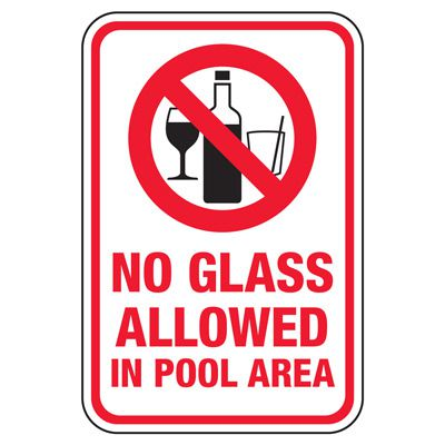 No Glass Allowed In Pool Area - Pool Signs