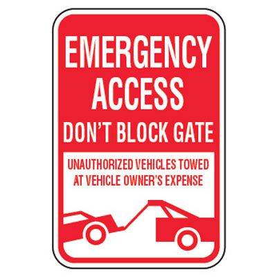 No Parking Signs - Emergency Access Don't Block Gate