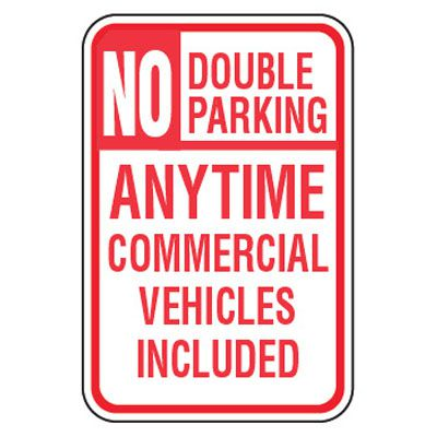 No Parking Signs - No Double Parking Anytime