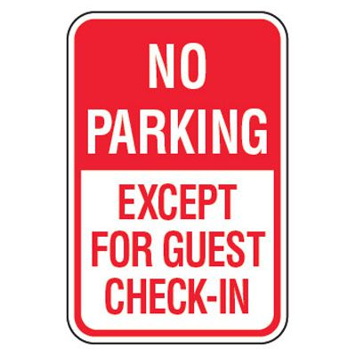 No Parking Signs - No Parking For Guest Except Check-In
