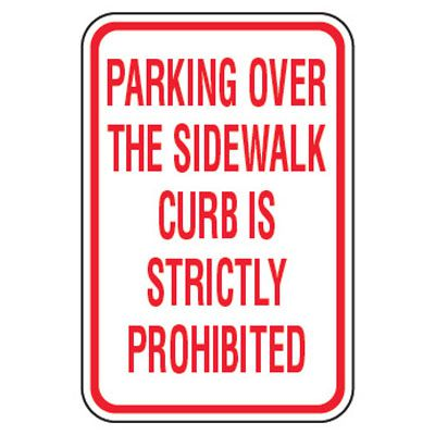 No Parking Signs - Parking Over The Sidewalk Curb