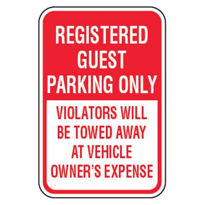 No Parking Signs - Registered Guest Parking Only