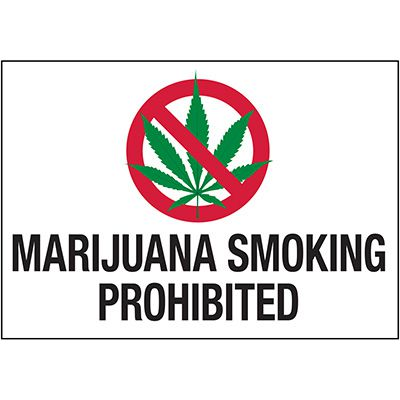 No Smoking Labels - Marijuana Smoking Prohibited