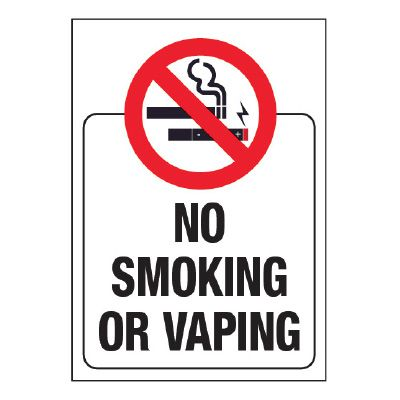 No Smoking or Vaping Glass Label (w/ Graphic)