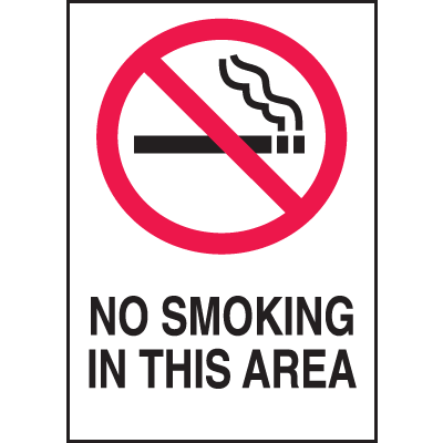 No Smoking In This Area Signs - 10W x 14H