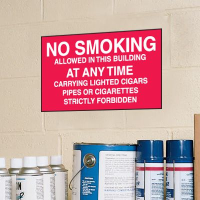 No Smoking In This Building At Any Time Signs - Aluminum, Plastic or Vinyl