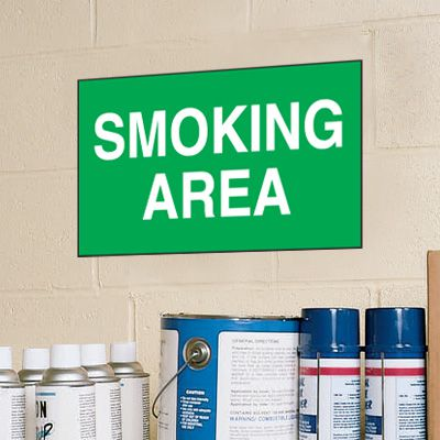 Smoking Area Signs - Aluminum, Plastic or Vinyl