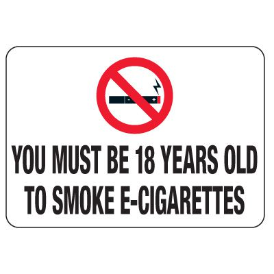 No Smoking Signs - Must Be 18 Years Old To Smoke
