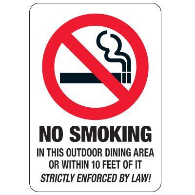 No Smoking Signs - No Smoking In Outdoor Dining Area
