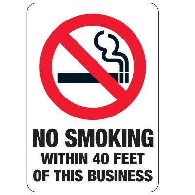 No Smoking Signs - No Smoking Within 40 Feet