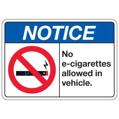 No Smoking Signs - Notice No E-Cigarettes Allowed