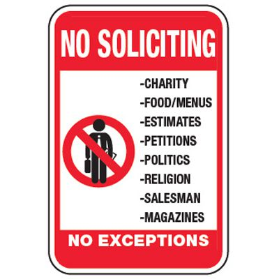 No Soliciting, Charity - Property Protection Signs
