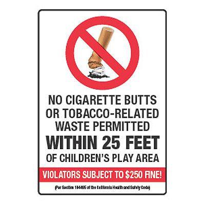 No Tobacco-Related Waste Within 25 Feet - California No Smoking Signs