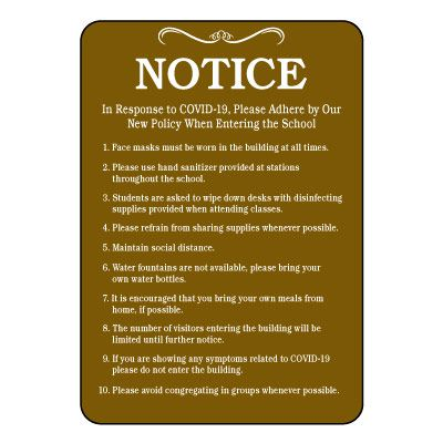 Notice COVID-19 School Policy Sign