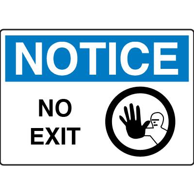 OSHA Notice Signs - Notice No Exit