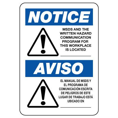 Notice: Written Hazard Communication Program Sign