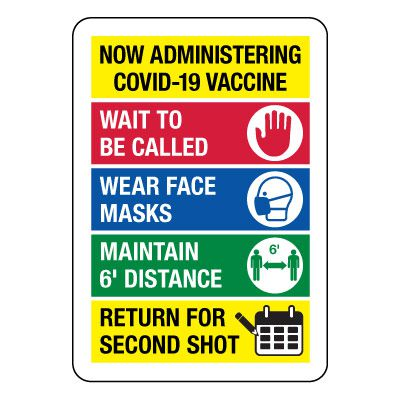 Now Administering COVID-19 Vaccine - Return For Second Shot Sign