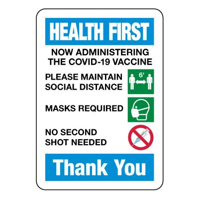 Health First - Now Administering COVID-19 Vaccine Sign